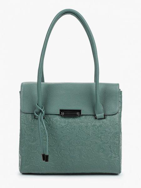 Зеленая кожаная сумка из натуральной кожи Valensiy