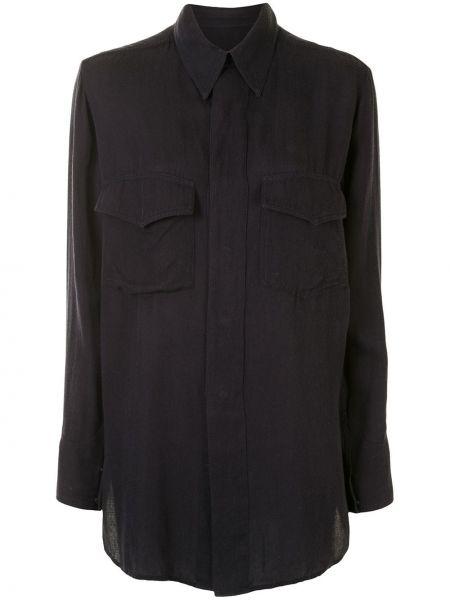 Черная классическая рубашка с воротником на пуговицах из вискозы Yohji Yamamoto Pre-owned