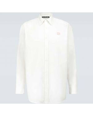 Белая батистовая оксфордская рубашка оверсайз с вышивкой Acne Studios