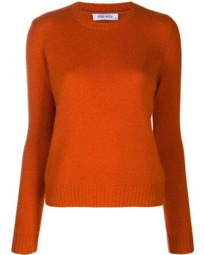 Оранжевый кашемировый джемпер в рубчик с вырезом Philo-sofie