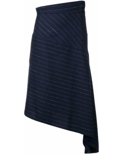 Синяя асимметричная юбка миди в рубчик Teija