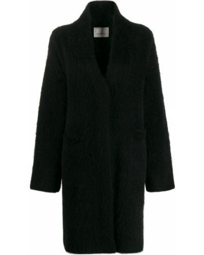 Шерстяное черное длинное пальто с воротником Laneus