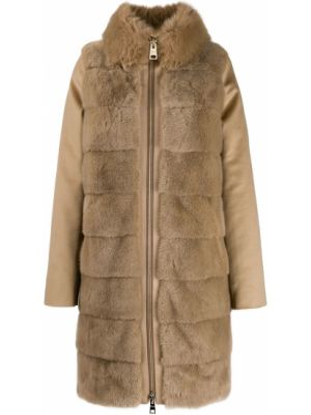 Коричневое пальто с воротником на молнии из искусственного меха Herno