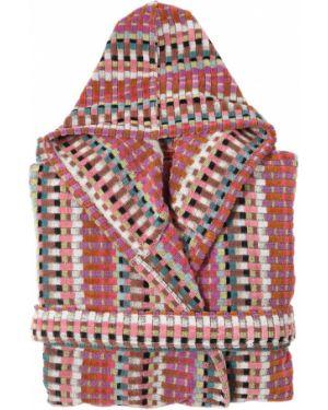Różowy szlafrok bawełniany z kapturem Missoni