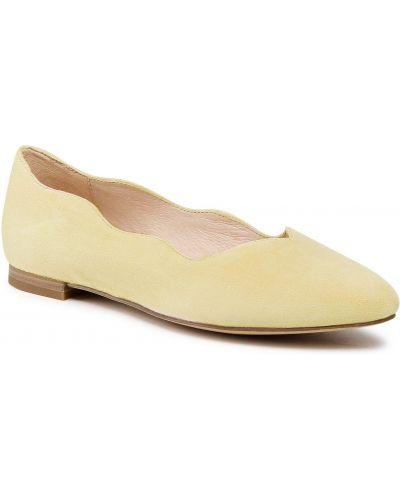 Półbuty skórzane casual - żółte Caprice