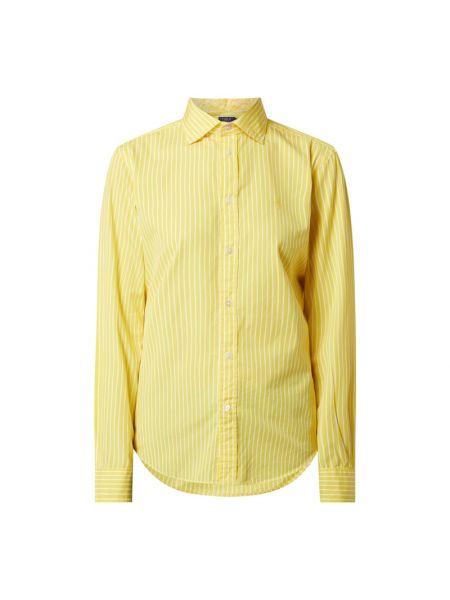 Żółty klasyczny bluzka z długim rękawem z kołnierzem na paskach Polo Ralph Lauren