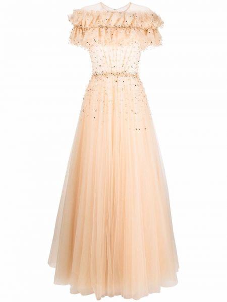 Beżowa sukienka mini tiulowa Jenny Packham