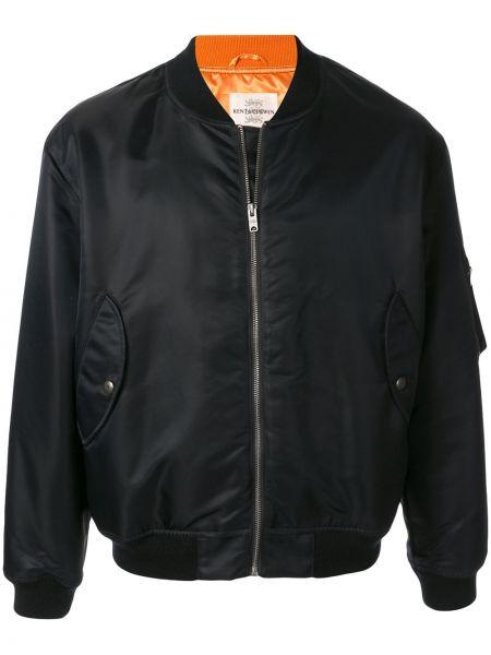 Czarna długa kurtka z nylonu z długimi rękawami Kent & Curwen