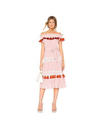 Платье с поясом с вышивкой через плечо Tularosa
