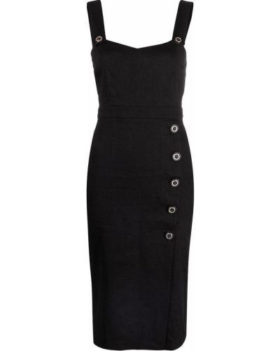 Прямое льняное черное платье Pinko