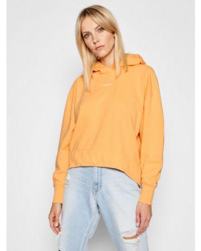 Bluza oversize - pomarańczowa Calvin Klein Jeans