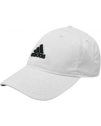 Biała czapka z daszkiem w paski na rzepy Adidas