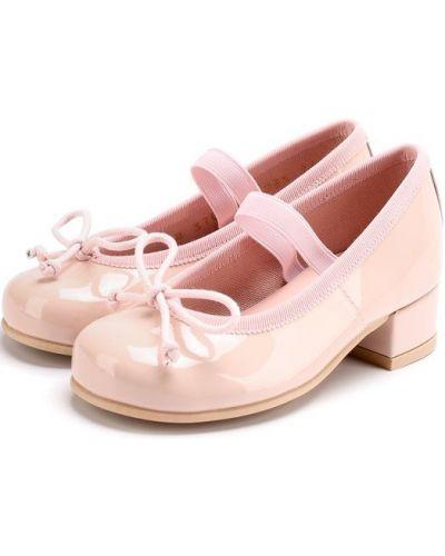 Кожаные туфли с бантом лакированные Pretty Ballerinas