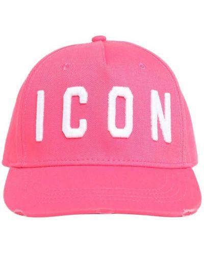 Хлопковая розовая шапка с вышивкой Dsquared2