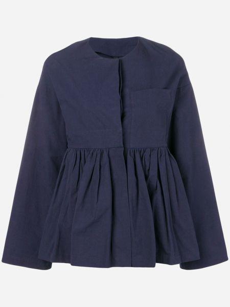 Приталенный синий удлиненный пиджак с баской Sara Lanzi