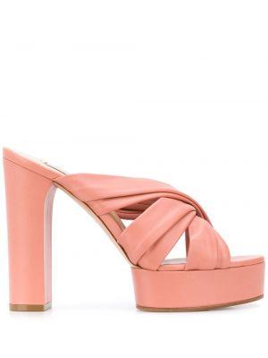 Różowe sandały na platformie skorzane Casadei