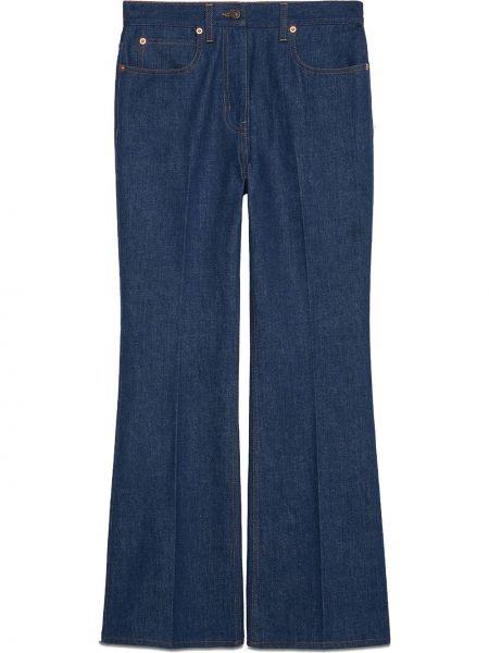 Bawełna niebieski klasyczny jeansy z kieszeniami z łatami Gucci