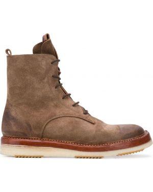 Кожаные коричневые кожаные ботинки на шнуровке на плоской подошве Silvano Sassetti