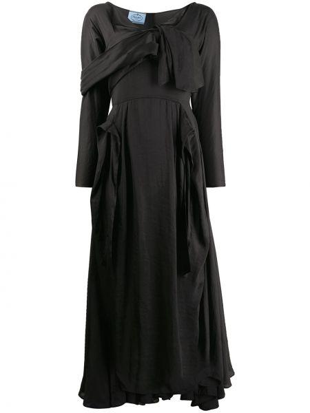 Czarna sukienka midi z długimi rękawami z jedwabiu Prada