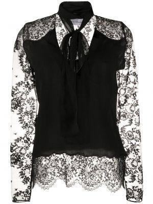 Czarna bluzka koronkowa z długimi rękawami Faith Connexion