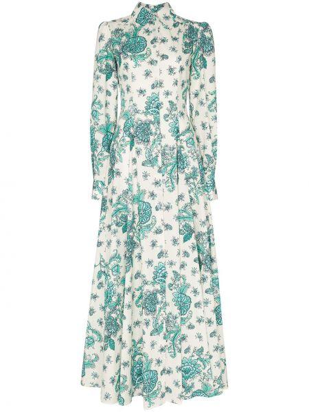Sukienka długa rozkloszowana z długimi rękawami w kwiaty Evi Grintela