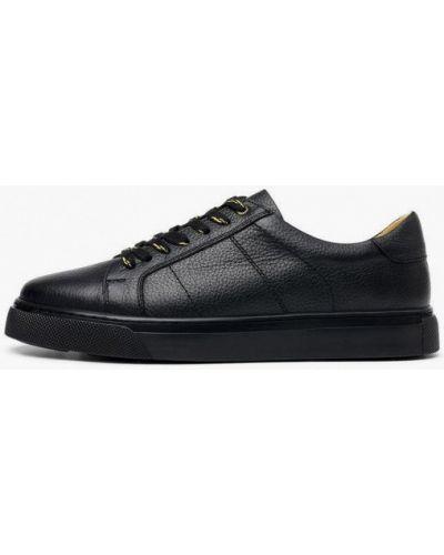 Кожаные черные низкие кеды Pierre Cardin