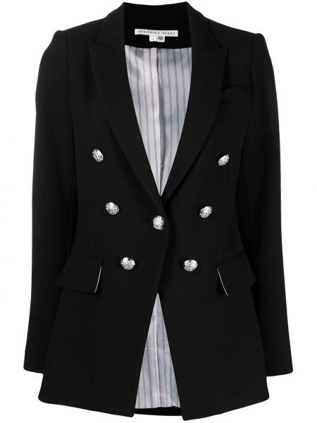 С рукавами черный удлиненный пиджак на пуговицах из вискозы Veronica Beard