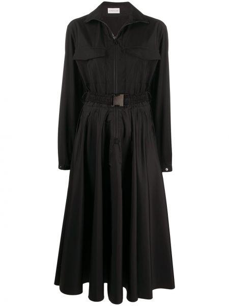 Плиссированное платье миди с воротником на молнии с нашивками Moncler
