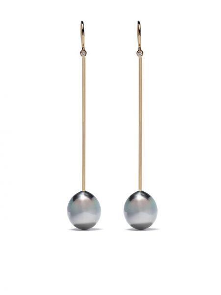 Czarne złote kolczyki sztyfty perły Mizuki