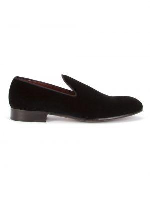 Skórzany pikowana czarny kapcie kaskada Dolce And Gabbana