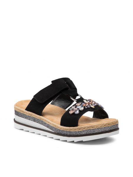 Sandały espadryle - czarne Rieker