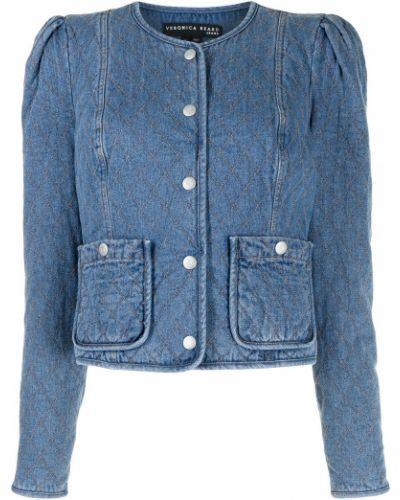 Хлопковая синяя стеганая джинсовая куртка Veronica Beard
