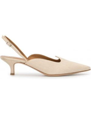 Бежевые туфли-лодочки с острым носом с пряжкой из натуральной кожи Le Monde Beryl