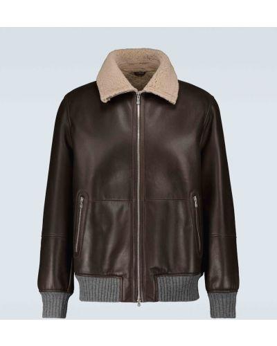 Кожаная куртка - коричневая Brunello Cucinelli