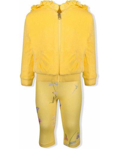 Żółty dres bawełniany z kapturem Lapin House