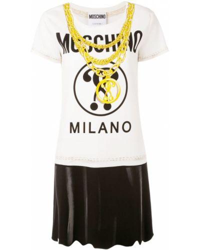 Футболка с принтом из вискозы Moschino