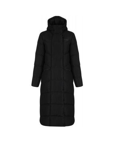 Утепленная серая пуховая длинная куртка Demix