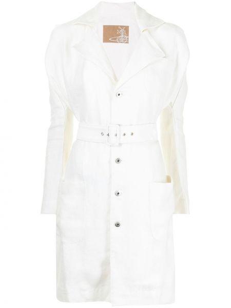 Белое платье макси с поясом на пуговицах Vivienne Westwood