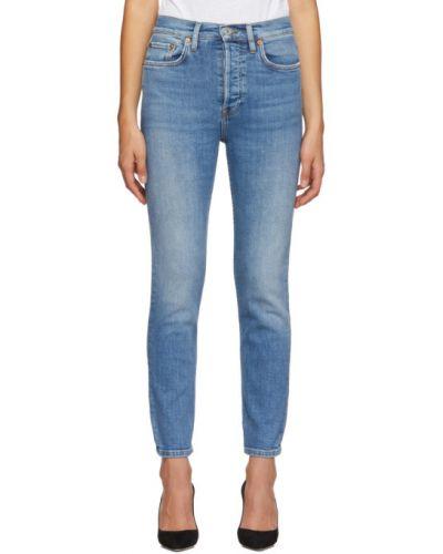 Z wysokim stanem niebieski włókienniczy jeansy do kostek z kieszeniami Re/done