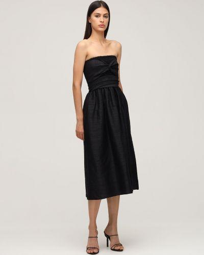 Czarna sukienka midi z jedwabiu Ciao Lucia