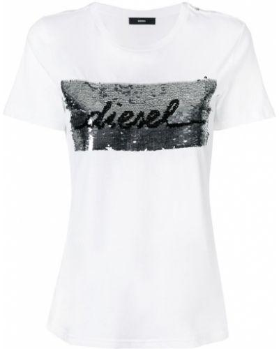 Белая футболка с логотипом Diesel