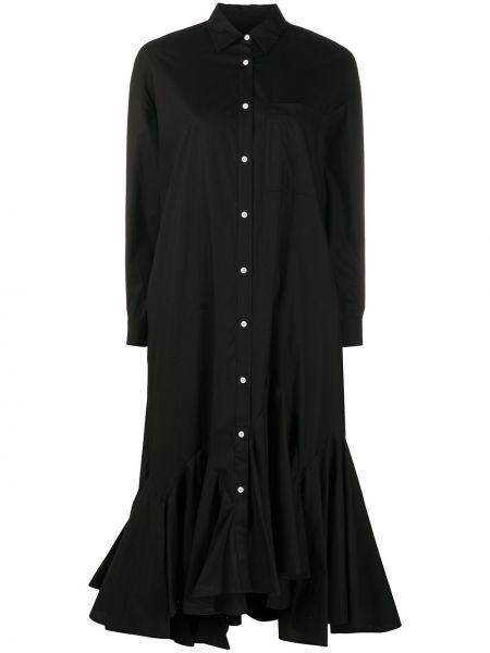 Bawełna czarny rozbłysnął długo sukienka zapinane na guziki Enfold