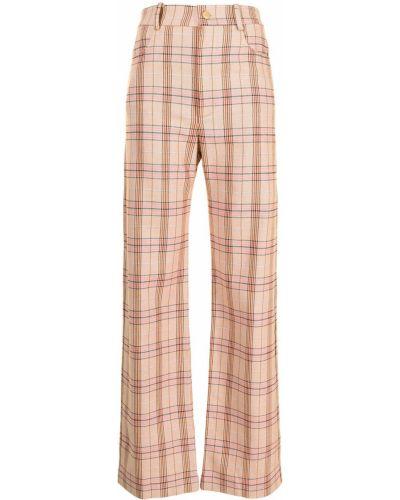 Розовые прямые брюки в клетку Manning Cartell