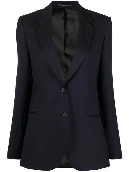 Шерстяной однобортный синий удлиненный пиджак Paul Smith