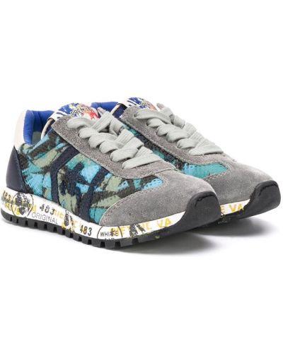 Кружевные кроссовки с заплатками на шнурках круглые Premiata Kids