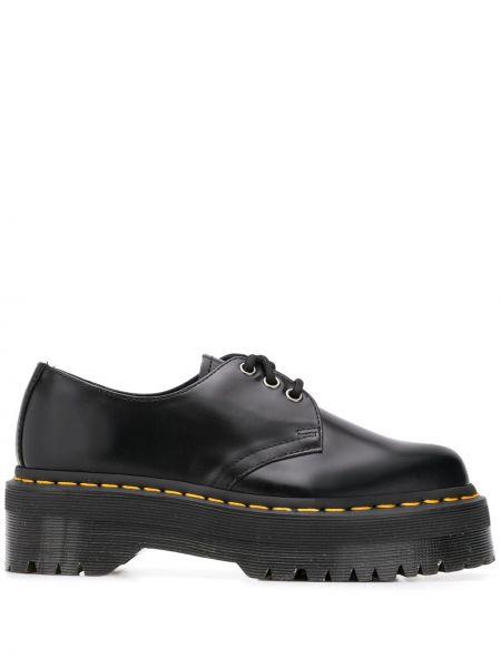Koronkowa czarny buty brogsy z prawdziwej skóry zasznurować Dr. Martens