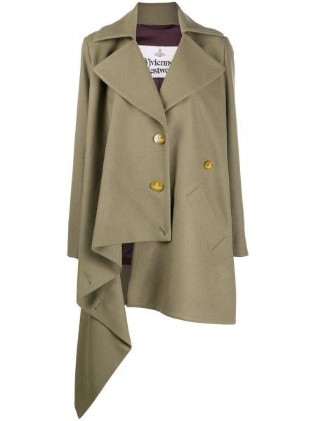 Зеленое брендовое длинное пальто свободного кроя Vivienne Westwood