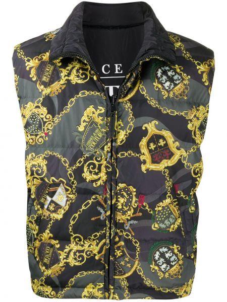 Czarna kamizelka bez rękawów z printem Versace Jeans Couture