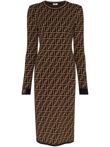 Czarna sukienka midi z długimi rękawami z wiskozy Fendi