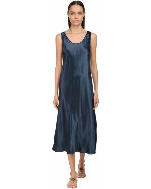 Сатиновое синее платье миди с декольте без рукавов Max Mara